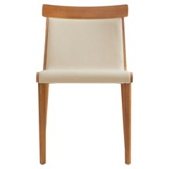 Contemporary Chair in Solid Wood, Upholstered in Leather or Textiles