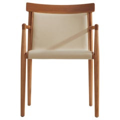 Contemporary Chair in Solid Wood, Upholstered in Leather or Textiles with Arms
