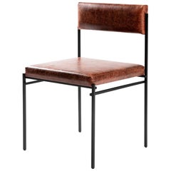 "Contemporary Chair in Steel and Leather, ""Joao"" by Samuel Lamas"
