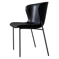 Contemporary Chair 'Pipe' Black Leather