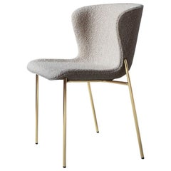 Contemporary Chair 'Pipe' with Beige Bouclé
