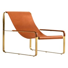 Contemporary Chaise Longue Aged Brass Steel & Natural Tobacco Saddle Leather
