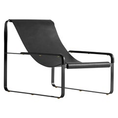 Contemporary Chaise Longue, Black Smoke Steel & Black Saddle Leather