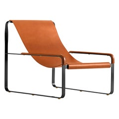 Contemporary Chaise Longue Black Steel & Natural Tobacco Saddle Leather