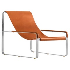 Contemporary Chaise Longue Silver Steel & Tobacco Saddle Leather, Wanderlust