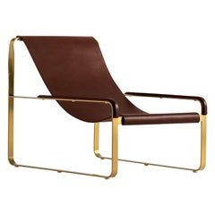 Contemporary Chaise Lounge, Aged Brass Steel and Dark Brown Saddle Leather
