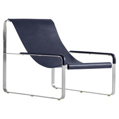Contemporary Chaise Lounge, Old Silver Steel and Blue Saddle Leather