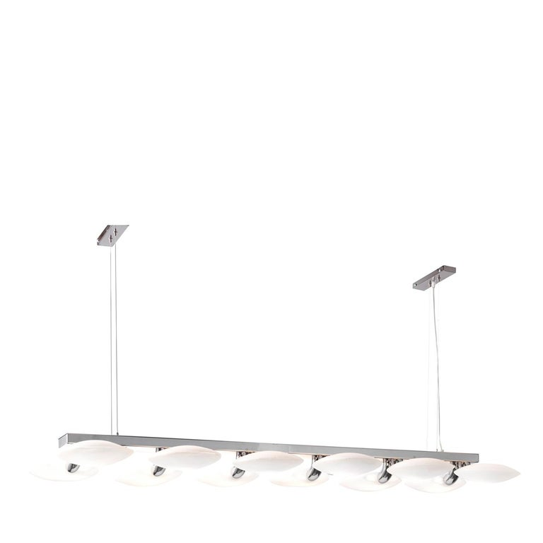 Hanging from thin metal wires, the outstanding element of this chandelier is its skillfully balanced Silhouette that comprises a straight, chrome-finished metal bar from which 12 curved, cylindrical shapes branch off, culminating in many ellipsoidal