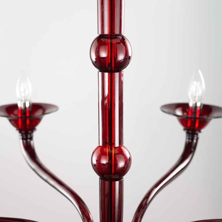 Contemporary Chandelier, 6 Arms Red Murano Glass by Multiforme For Sale 4