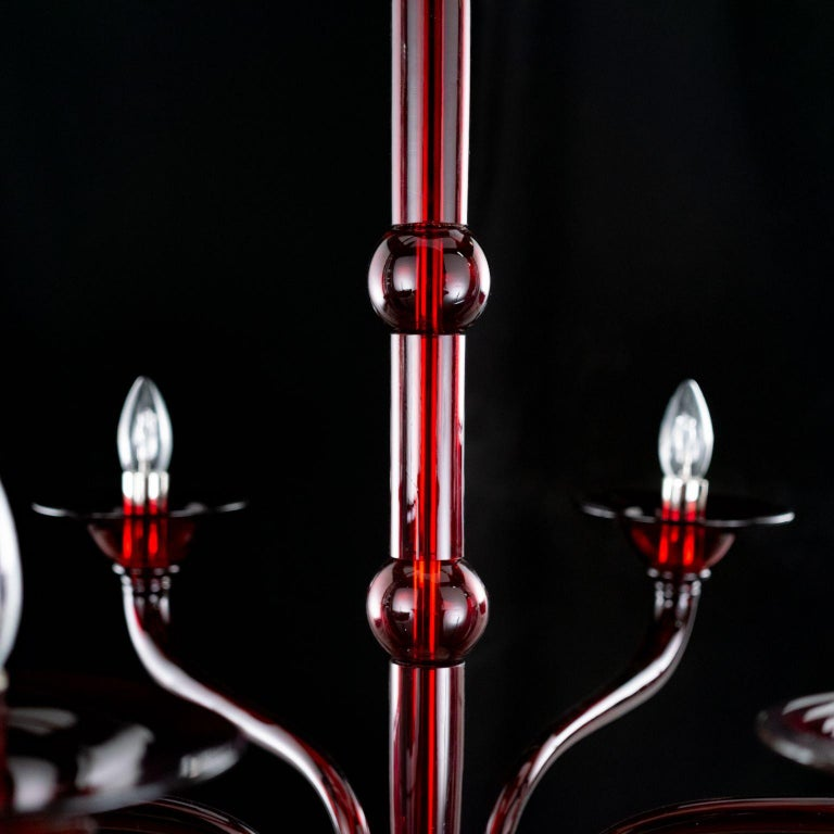 Other Contemporary Chandelier, 6 Arms Red Murano Glass by Multiforme For Sale