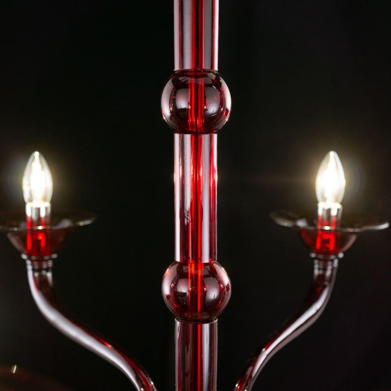 Contemporary Chandelier, 6 Arms Red Murano Glass by Multiforme In New Condition For Sale In Trebaseleghe, IT