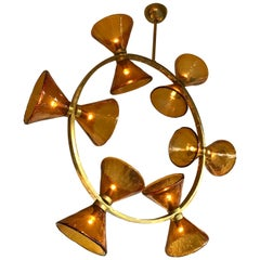 Contemporary Chandelier Circle Brass Diabolo Murano Glass, Italy