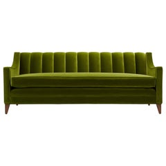 Contemporary Channeled Fleure Luxus Sofa in Velvet and Oak or Walnut Legs