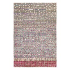 Contemporary Checkered Design White, Gray, Purple and Red Wool Rug