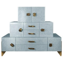 Contemporary Chest of Drawers in Blue Bird Eye Stained Wood Leaf & Brass Details