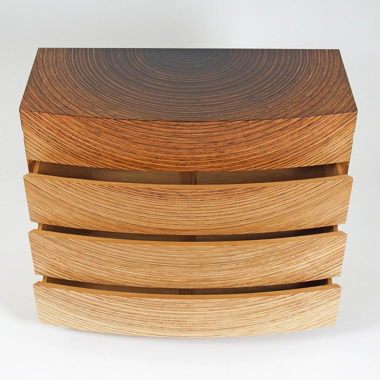 British Contemporary Chest of Drawers in Fumed Oak, Oak and Ash by Edward Johnson For Sale