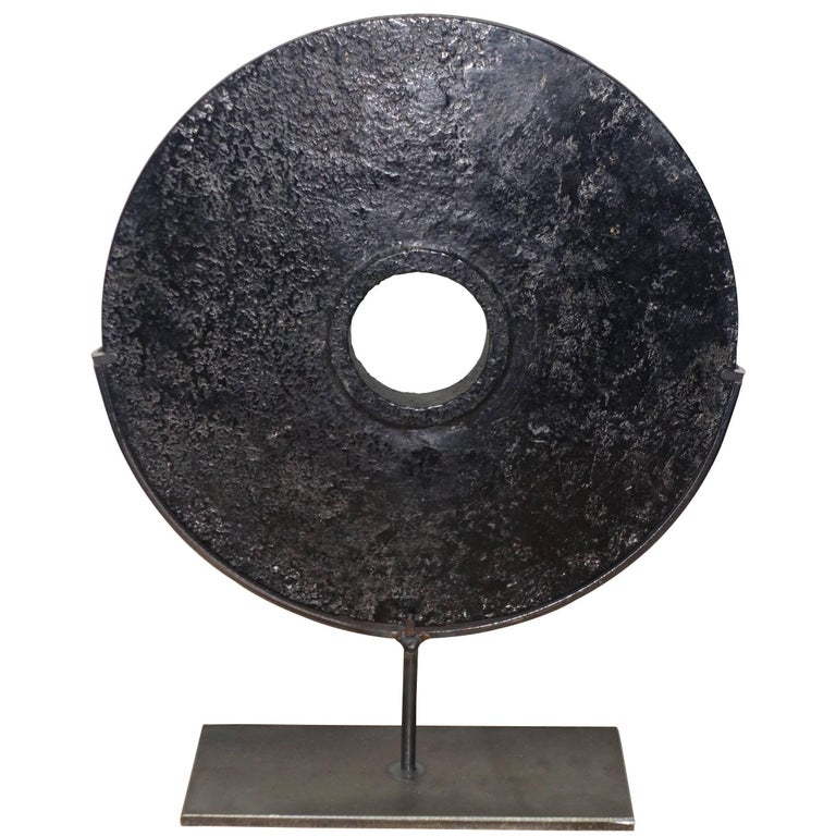 Contemporary Chinese Black Stone Disc Sculpture on Stand