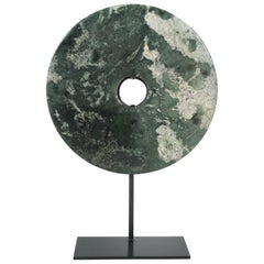Contemporary Chinese Jade Bi Disc on Stand