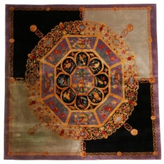 Contemporary Chinese Medallion-Inspired Purple and Gold Wool and Silk Square Rug