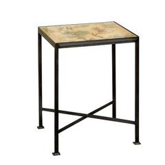 Contemporary Chinoiserie Side Table with Monkey and Birds Motifs on Iron Base