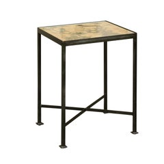 Contemporary Chinoiserie Side Table with Monkey and Stag Motifs on Iron Base