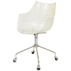 Contemporary Chrome and Acrylic Italian Driade Desk Chairs