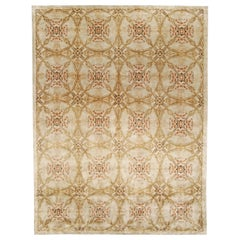 Contemporary Cinnamon Beige, Orange, Red and Black Hand Knotted Wool & Silk Rug