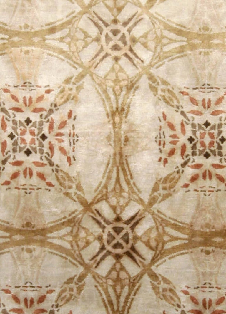 Contemporary cinnamon hand knotted silk rug Size: 8'0