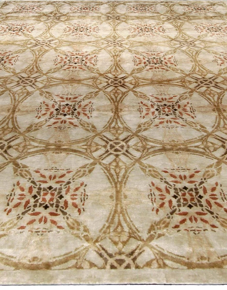 Modern Contemporary Cinnamon Hand Knotted Silk Rug For Sale