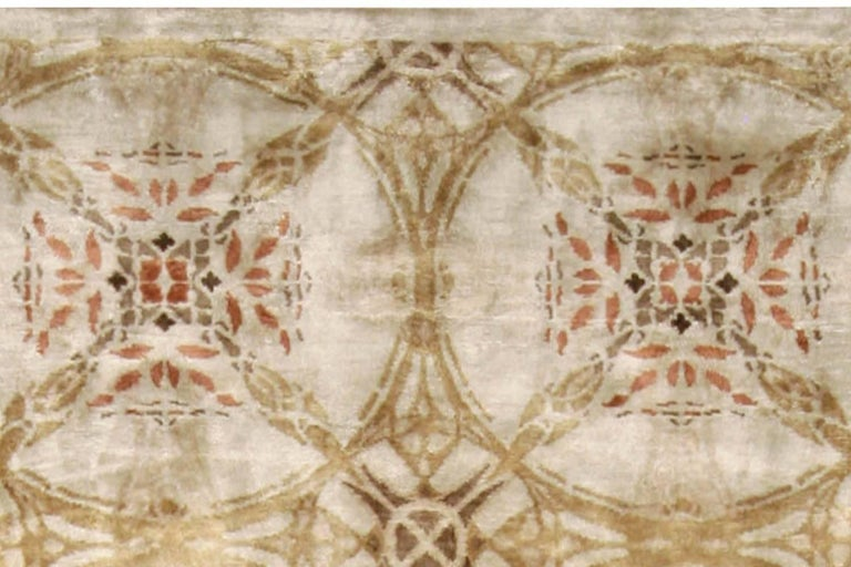 Hand-Knotted Contemporary Cinnamon Hand Knotted Silk Rug For Sale