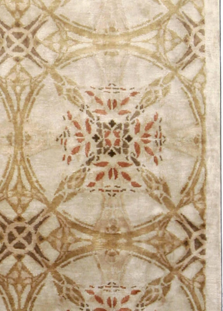 Contemporary Cinnamon Hand Knotted Silk Rug For Sale 1