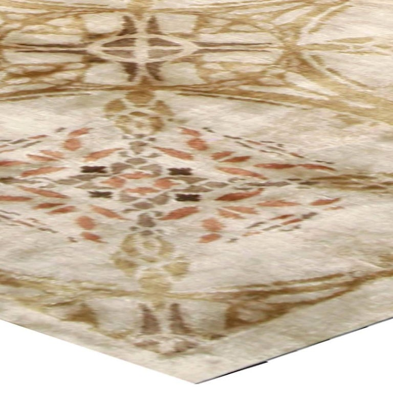 Contemporary Cinnamon Hand Knotted Silk Rug For Sale 2