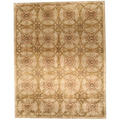 Contemporary Cinnamon Hand Knotted Silk Rug