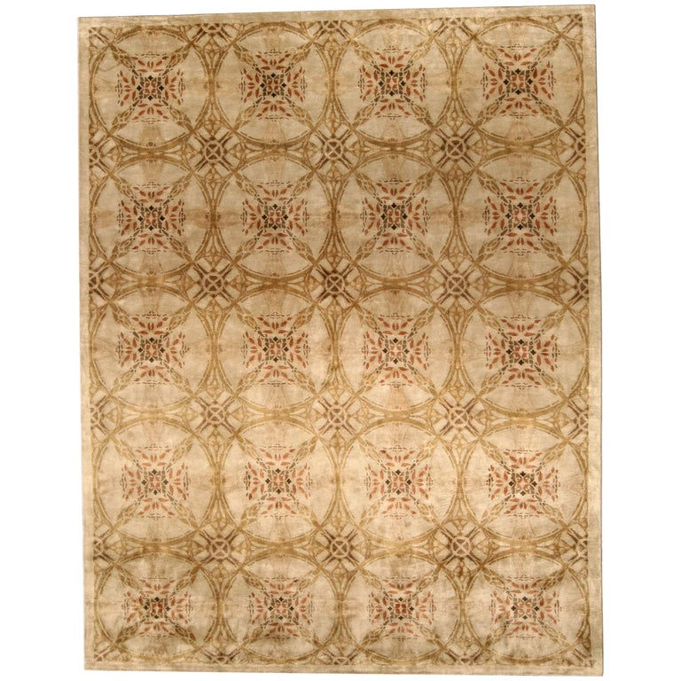 Contemporary Cinnamon Hand Knotted Silk Rug For Sale