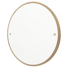 Contemporary Circle Mirror Large with Oak Frame and Brass Fasteners