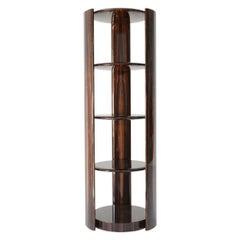Contemporary Circular Bookcase by Hessentia in Glossy Ebony Finish