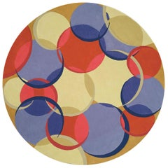 Contemporary Circular Coleman 21 Red, Blue and Beige Wool Rug