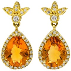 Contemporary Citrine Diamond 18 Karat Gold Foliate Drop Earrings