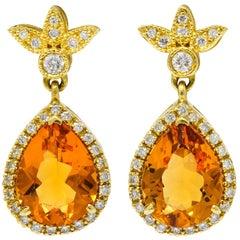 Contemporary Citrine Diamond 18 Karat Gold Foliate Drop Earrings