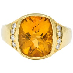 Contemporary Citrine Diamond 18 Karat Gold Statement Ring