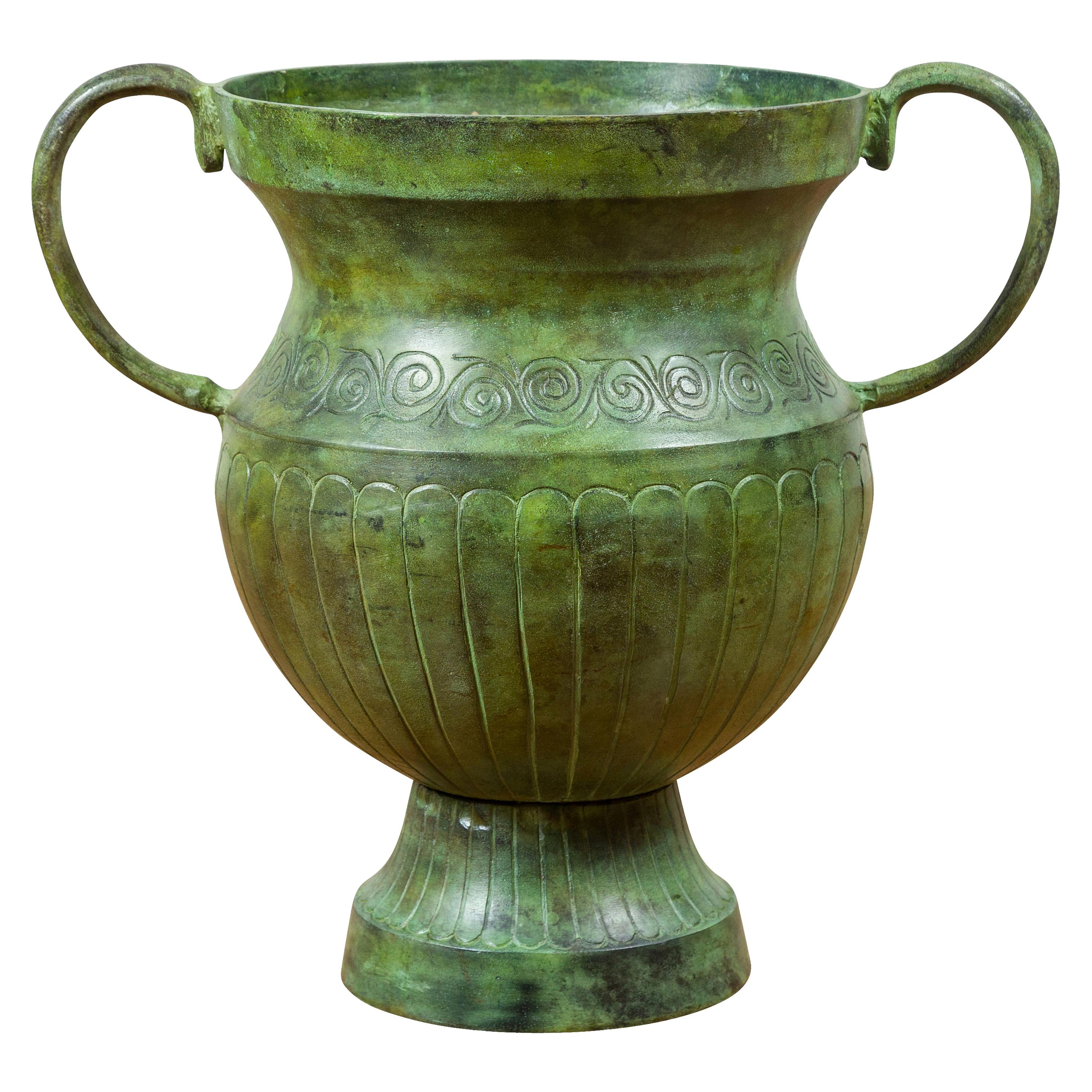 Contemporary Classical Style Urn with Verde Patina, Large Handles and Gadroons