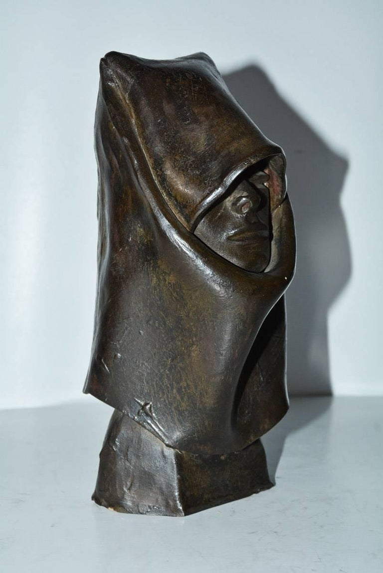 Modern Contemporary Clay Hooded Female Head Sculpture For Sale