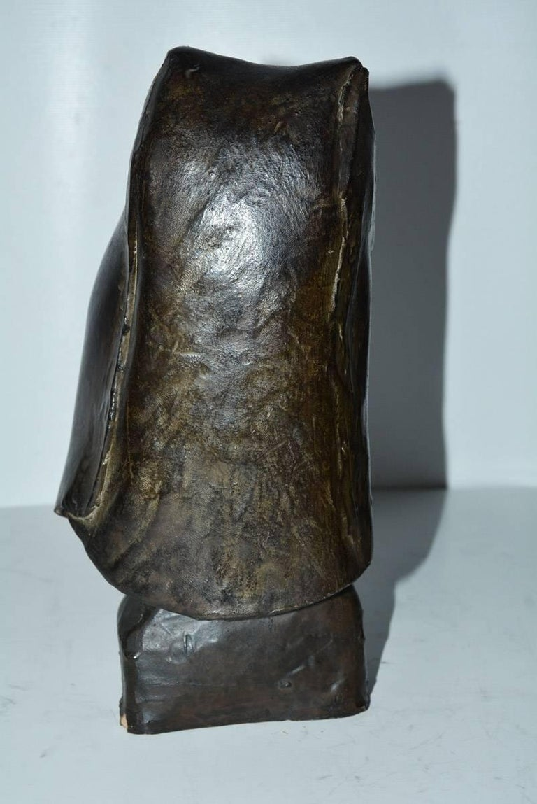 Hand-Crafted Contemporary Clay Hooded Female Head Sculpture For Sale