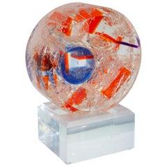 Contemporary Clear, Blue & Orange Acrylic Sphere Sculpture