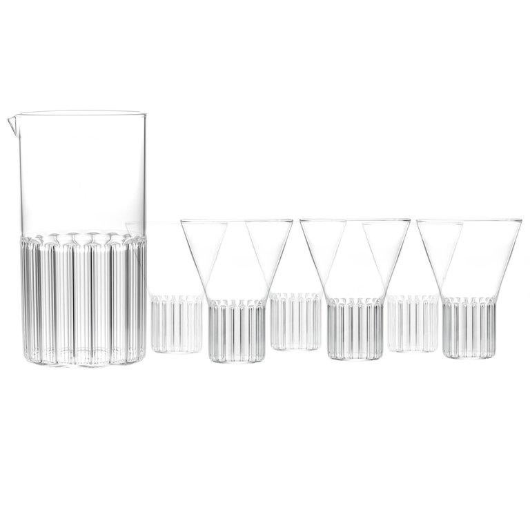 EU Clients Contemporary Handmade Glass Carafe and 6 Large Glass Set in Stock For Sale