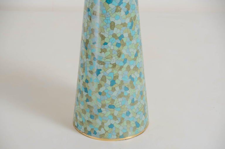 Conical table lamp Azure design Turquoise and blue Cloisonné Hand made Silk shade Limited edition  The cloisonné technique is an enameling on metal technique that dates back to the Byzantine Empire. The technique reached China around the