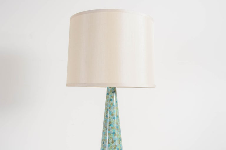 Art Deco Contemporary Cloisonné Conical Table Lamp in Azure Design by Robert Kuo For Sale