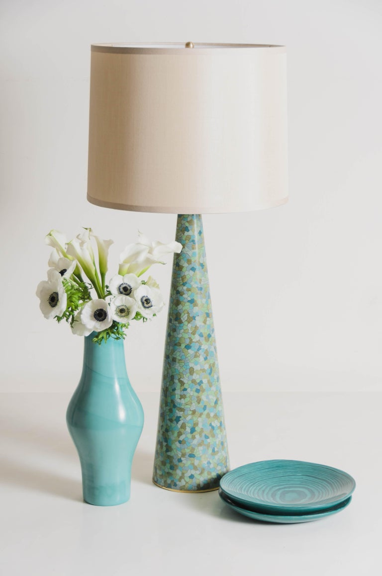 Cloissoné Contemporary Cloisonné Conical Table Lamp in Azure Design by Robert Kuo For Sale