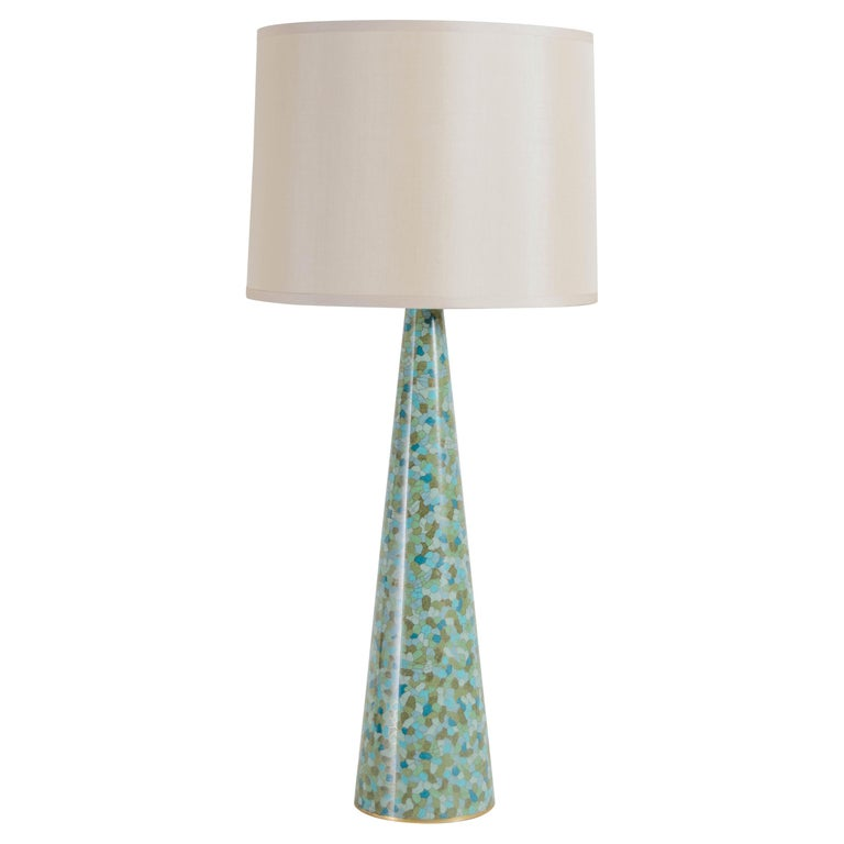 Contemporary Cloisonné Conical Table Lamp in Azure Design by Robert Kuo For Sale