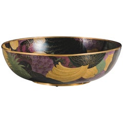 Contemporary Cloisonné Fruit Design Shallow Bowl by Robert Kuo, Limited Edition